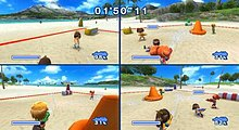 Image is split into four screens, each containing a third-person view of a player firing a hand-held water gun at other players.