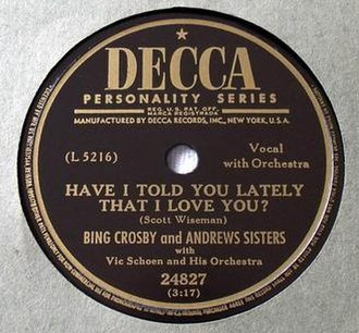 Have I Told You Lately That I Love You? - Image: Have I Told You Lately That I Love You (Crosby)