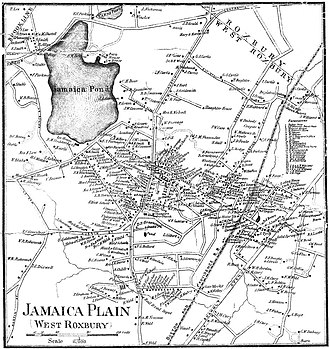 Jamaica Plain - Map of Jamaica Plain in 1858