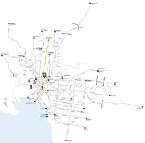 Melbourne tram route 1 - Image: Melbourne trams route 1 map