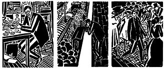 Passionate Journey - Masereel depicts himself (left) dressed in the same manner as the book's protagonist.