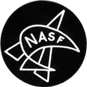 National Association for Science Fiction - The logo of NASF - a kiwi, representing New Zealand, superimposed on a stylised rocket