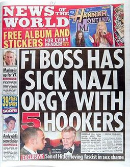 Max Mosley won damages for the newspaper's invasion of privacy and incorrect assertion about the Nazi theme in Mosley v News Group Newspapers Limited News of the World (newspaper) cover.jpg