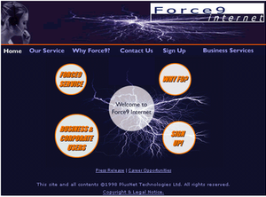 Plusnet - Screenshot of the original Force9 webpage, from 1998