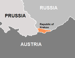 Territory of the Free City of Cracow (orange) and its three neighbours (Kingdom of Prussia, Austrian Empire and Russian Empire)