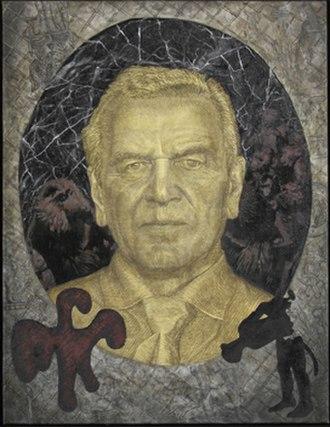 Jörg Immendorff - Portrait of Gerhard Schröder, 2007, oil, 100 x 130 cm