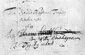 "The Second Maiden's Tragedy - The back page of the manuscript, featuring a title and three authorship attributions by its later owners. The names of Thomas Goffe and George Chapman are heavily crossed out, the words ""by Will Shakespeare"" less heavily so."