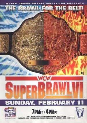 SuperBrawl VI - Promotional poster featuring the WCW World Heavyweight Championship.