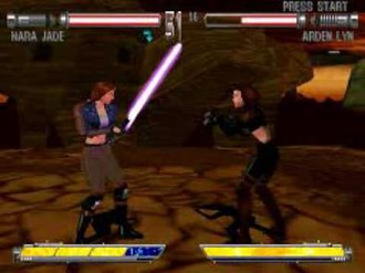 Star Wars: Masters of Teräs Käsi - Masters of Teräs Käsi features several characters from the Star Wars Legends universe. Here, Jedi Mara Jade fights Arden Lyn, who was created specifically for the game.