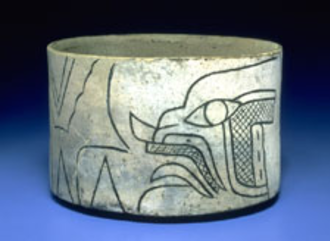 Olmec religion - Clay bowl from Tlapacoya, showing the Banded-eye God.
