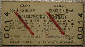 1968 in rail transport - Ticket issued on first day of service on London Underground's Victoria line
