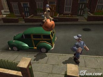 Wallace & Gromit: The Curse of the Were-Rabbit (video game) - Gromit using a bunnyhopper in the Town Centre