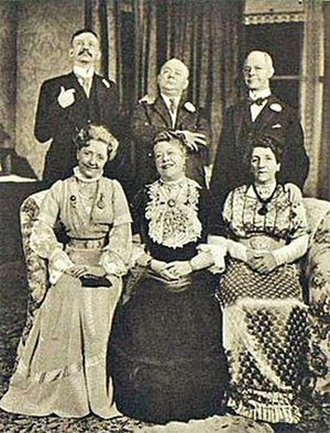 When We Are Married - The three couples in the original cast: clockwise from top left, Raymond Huntley, Lloyd Pearson, Ernest Butcher; Ethel Coleridge, Muriel George, Helena Pickard