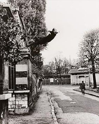 Performance art - Conceptual work by Yves Klein at Rue Gentil-Bernard, Fontenay-aux-Roses, October 1960, photo by Shunk Kender. Le Saut dans le Vide (Leap into the Void)