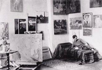 Albert Bloch - Albert Bloch in his studio, Munich
