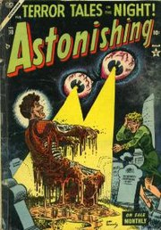 The pre-Comics Code Astonishing #30 (Feb. 1954): Cover art by Joe Maneely.