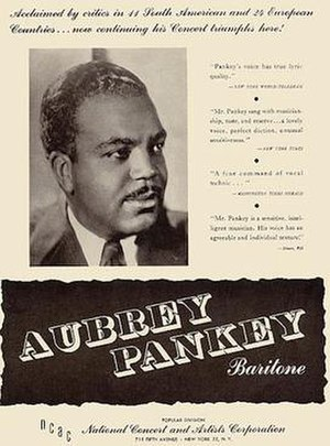Aubrey Pankey - Booking ad for Aubrey Pankey in Musical America from 1945