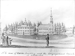 """Colchester, Connecticut - The Colchester Congregational Church, Bacon Academy, and, to the right of the church beneath the trees, a small """"school for colored children."""" Sketch by John Warner Barber for his Historical Collections of Connecticut (published in 1836)"""