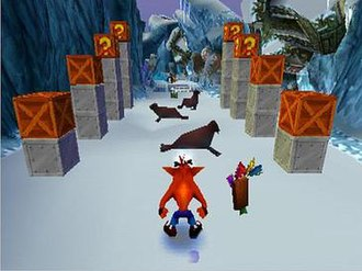 Crash Bandicoot 2: Cortex Strikes Back - An example of gameplay in Crash Bandicoot 2: Cortex Strikes Back. An Aku Aku mask, which serves to protect Crash from damage at least once, floats in Crash's general vicinity.