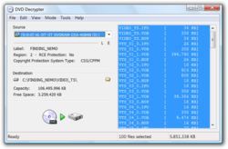 Screenshot of DVD Decrypter 3.5.4.0, the last version to be released