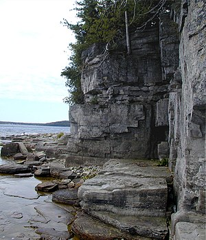 "Porte des Morts - ""A small ledge just above the water at Door Bluff County Park, measuring about 6 feet by 18 feet."""