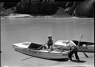 Norman Nevills - Dr. Elzada Clover at Bright Angel Creek in Grand Canyon, July 1938