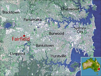 Fairfield, New South Wales - Location map of Fairfield based on NASA satellite images
