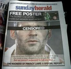 CTB v News Group Newspapers Ltd - The Sunday Herald front page on 22 May 2011.