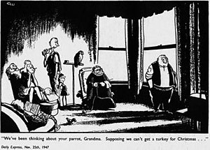 Carl Giles - Giles's cartoons appeared in the Daily Express newspaper and used his cartoon family to illustrate and comment on topics of the day. 'Grandma' seated with knitting appeared in November 1947.