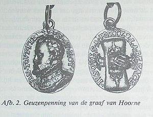 """Geuzen medals - Hoorne's gold medal, illustration in the contribution in """"de beeldenaar"""" of May/June 1980, page 92, by G. van der Meer"""