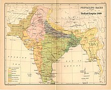 Map of India purporting to show distribution of races.