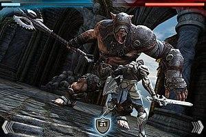 A screenshot showing combat in Infinity Blade....