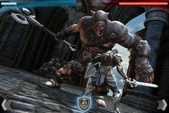 Infinity Blade - A screenshot showing combat in Infinity Blade. The character's and enemy's health bars are at the top of the screen, while the dodge and shield buttons are at the bottom; the special attack buttons are not visible.