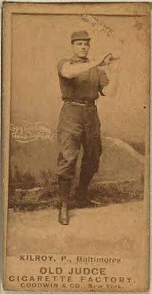 Matt Kilroy's 513 strikeouts in 1886 is the mo...