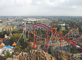 Knott's Berry Farm - View of Silver Bullet from Sky Cabin