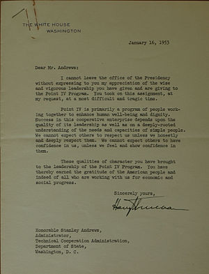 Stanley Andrews (journalist) - Letter from President Harry S Truman to Col. Andrews thanking him for his service.