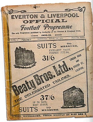 History of Everton F.C. - In the early 20th century, rivals Liverpool and Everton produced a joint matchday programme. This example is from April 1910.