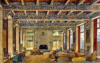 "Ahwahnee Hotel - The original concept for the interior design was described as ""Mayan revival"", drawing on Hispano-Moresque by artist Henry Lovins. He was replaced in 1926 by the husband and wife team of Ackerman and Pope"