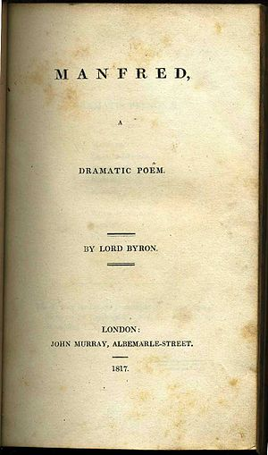 Manfred - 1817 first edition, John Murray, London.
