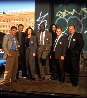 NYPD Blue - Main police cast of season three of NYPD Blue, l-r Tuturro, Smits, Delaney, McDaniel, Miceli, Clapp, Franz