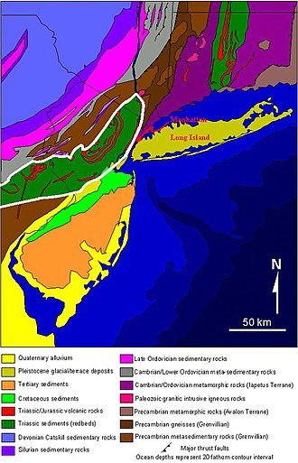 Newark Basin - A USGS geological map of New Jersey and the surrounding region; the Newark Basin is outlined in white