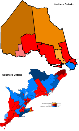 Dalton McGuinty - Map of the results of the 2007 Election where Dalton McGuinty won his second consecutive majority government.