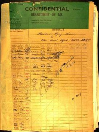 Australian ufology - Department of Air UFO folder cover 114/1/997 - 1953 to 1955 - NAA 01948052