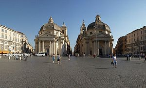 "Piazza del Popolo - The entrance of the Tridente from Piazza del Popolo, defined by the ""twin"" churches of Santa Maria in Montesanto (left, built 1662-75) and Santa Maria dei Miracoli (right, built 1675-79). The Via del Corso exits between the two churches."