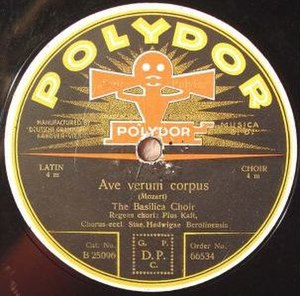 Polydor Records - 1920s vintage Polydor export label with its double-horn gramophone logo