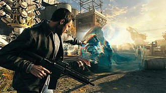 Quantum Break - In this screenshot, the player character is using Time Stop to defeat enemies