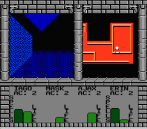 Swords and Serpents - Split-screen formatting allows the player to view a map and the party's health meters while exploring the dungeon.