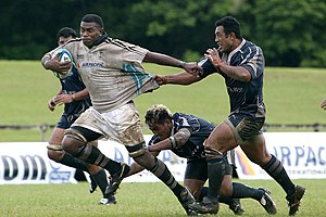 World Rugby Pacific Challenge - The Fiji Warriors (in white) taking on 2006 champions Savaii Samoa (navy blue) in 2007.