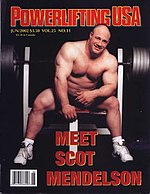Powerlifter Scot Mendelson on the cover of Powerlifting USA