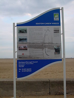 Cultural heritage management - Noticeboard interpreting the protected wreck at Seaton Carew